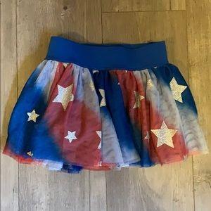 Justice size 7 red white blue tutu skort glitter